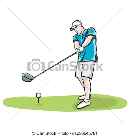 Vector of Golfer Swinging Club Hand Drawn Illustration.