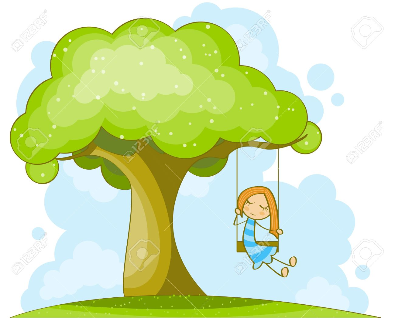 Kid swinging on tree clipart.