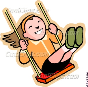 Cartoon Kids On Swings Clip Art #wN1kk6.