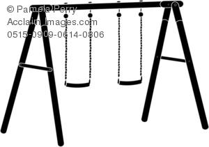 Clip Art Illustration of a Swing Set Silhouette.