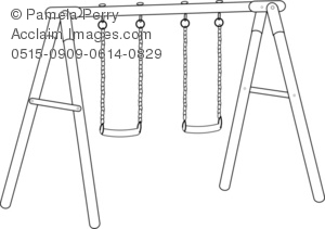 Black and White Clip Art Illustration of a Swing Set.