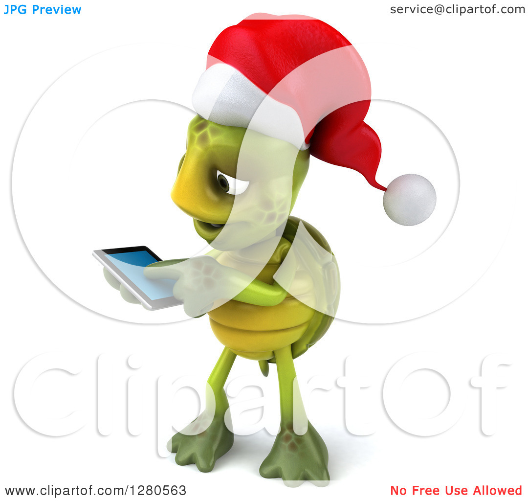 Clipart of a 3d Christmas Tortoise Facing Left and Swiping on a.