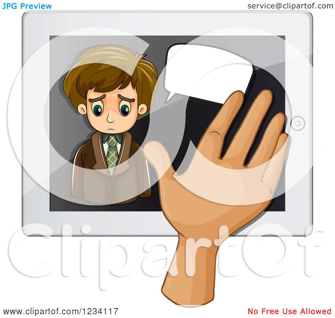 Clipart of a Hand Swiping over a Sad Talking Businessman on a.