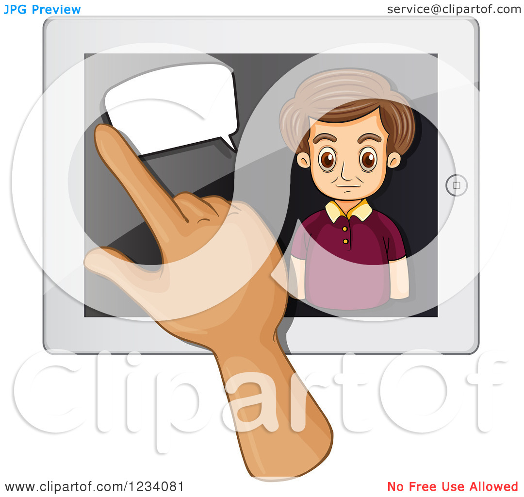 Clipart of a Hand Swiping over a Talking Businessman on a Tablet.