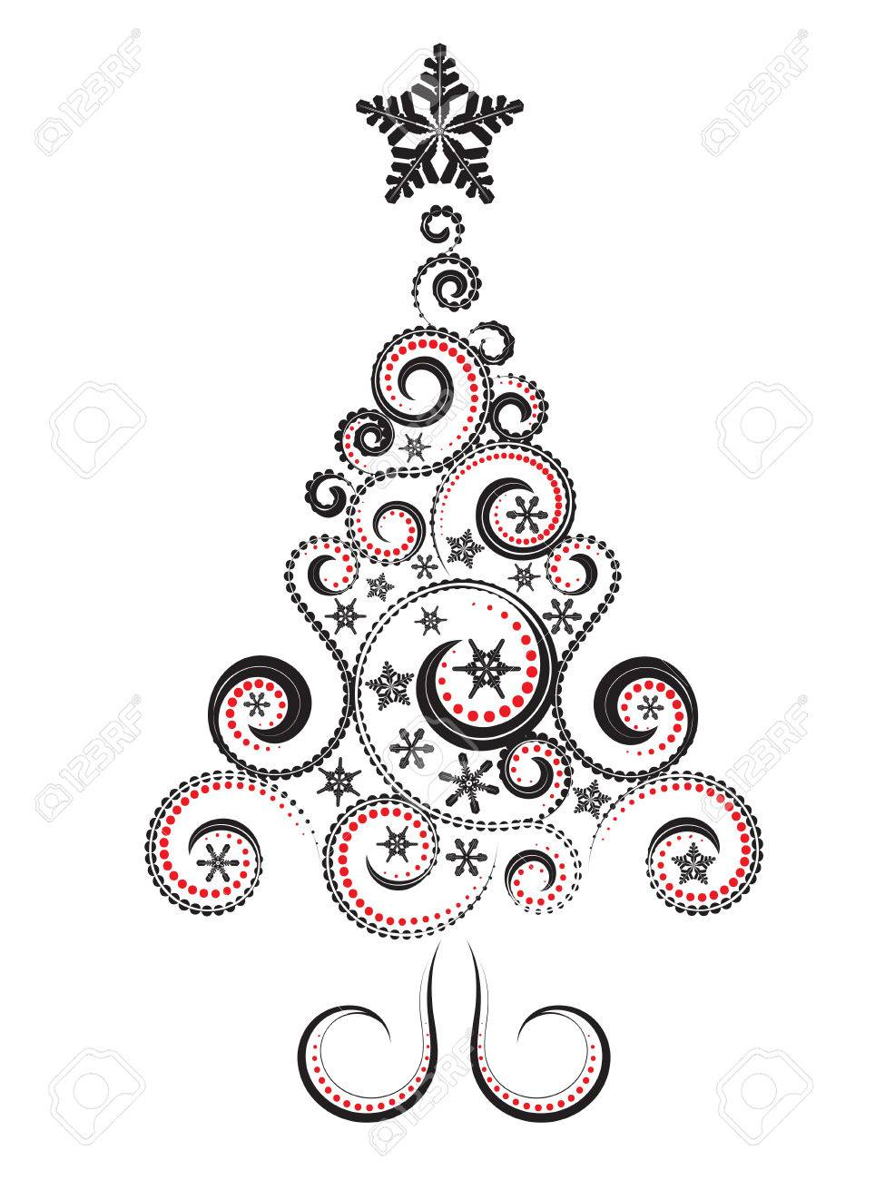 Abstract Swirl Christmas Tree Clipart.
