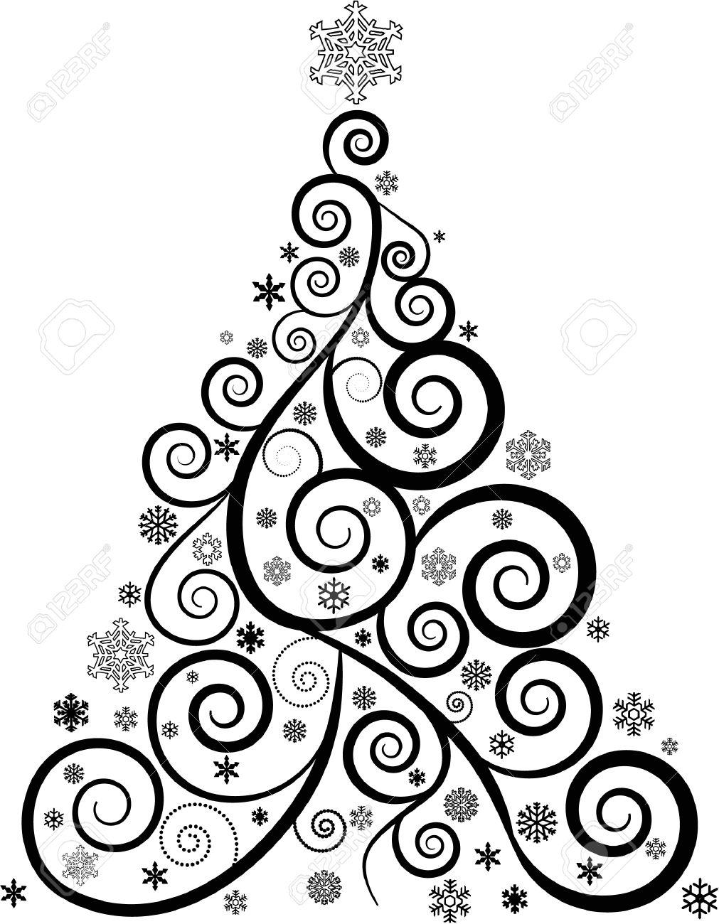 Swirl Christmas Tree Clipart.