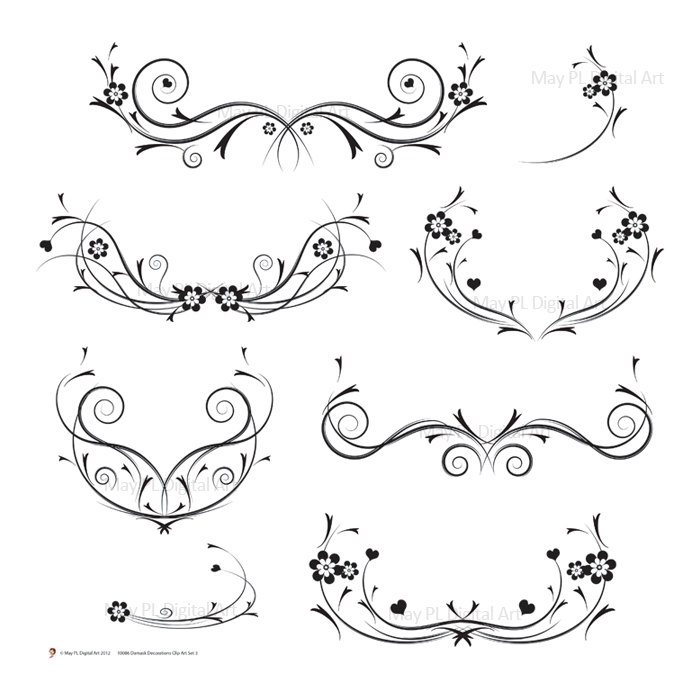Wedding Invitation Swirls Clipart Free.