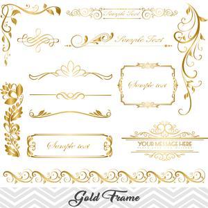 Golden Frame Border Clipart, Gold Flourish Swirl Frame Clip Art, 00062.