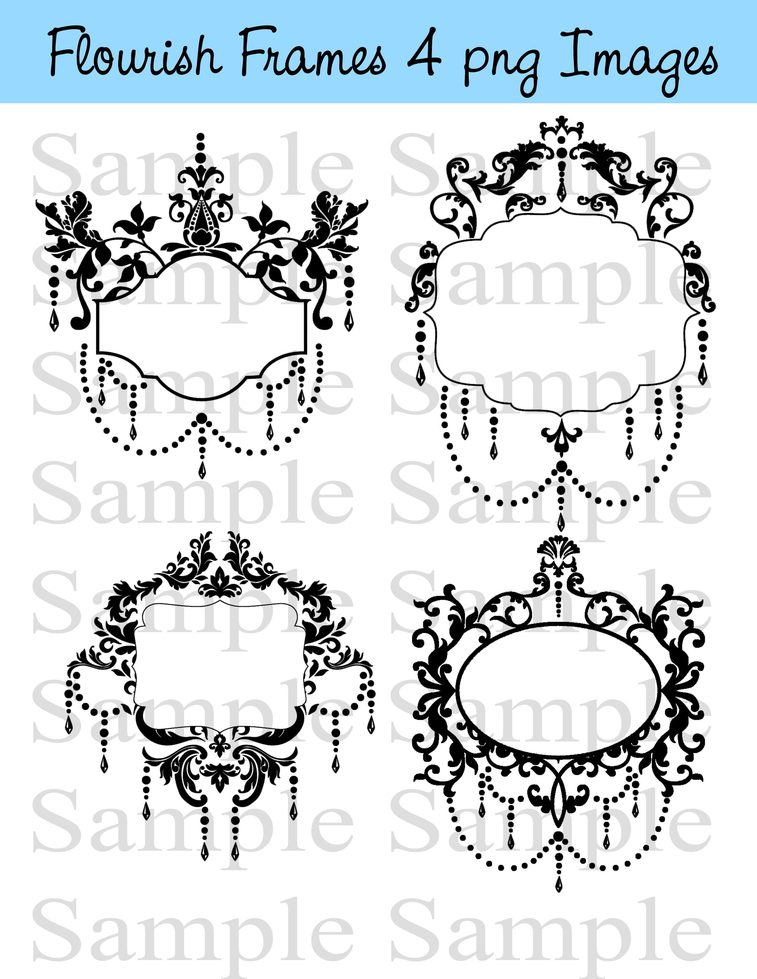Vintage Flourish Frames Clip Art Digital Flourishes DIY Wedding Invitations  Ornamental Frames Banners.