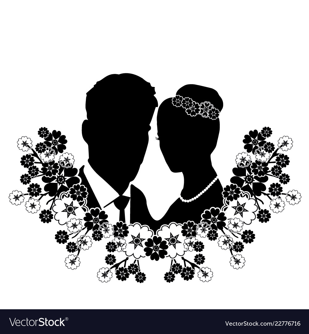 Wedding silhouette with flourishes 8.