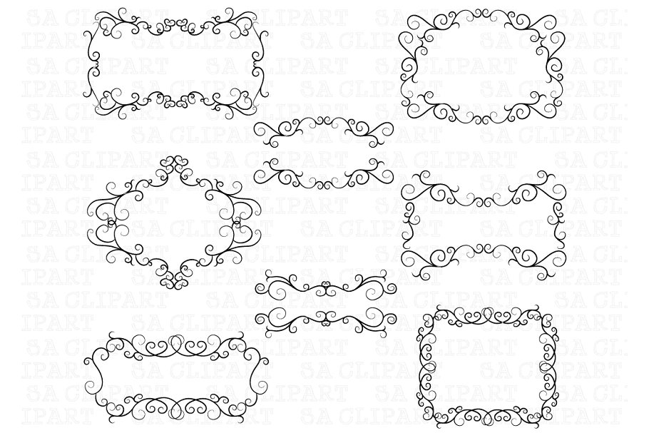 Flourish Swirl Border Frame Clipart ~ Illustrations.