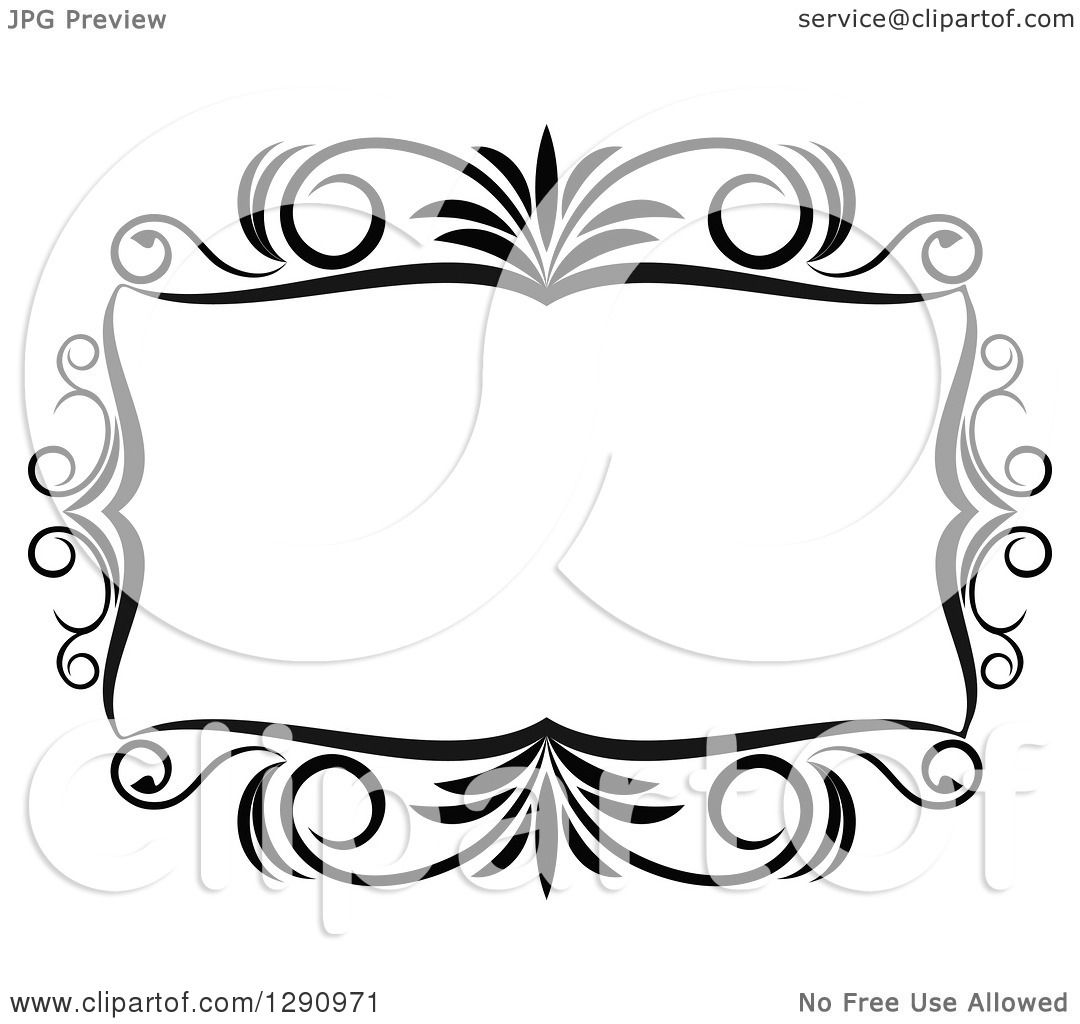 Clipart of a Black and White Ornate Rectangle Swirl Frame 10.