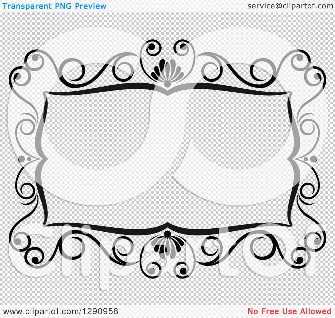 Clipart of a Black and White Ornate Rectangle Swirl Frame 4.