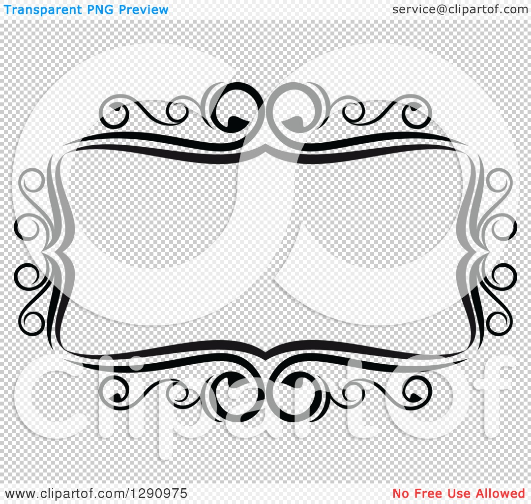 Clipart of a Black and White Ornate Rectangle Swirl Frame.