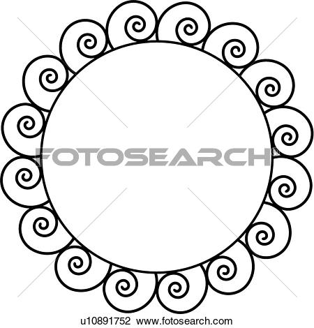 Clipart of , border, circle, fancy, frame, iron, ironwork, square.