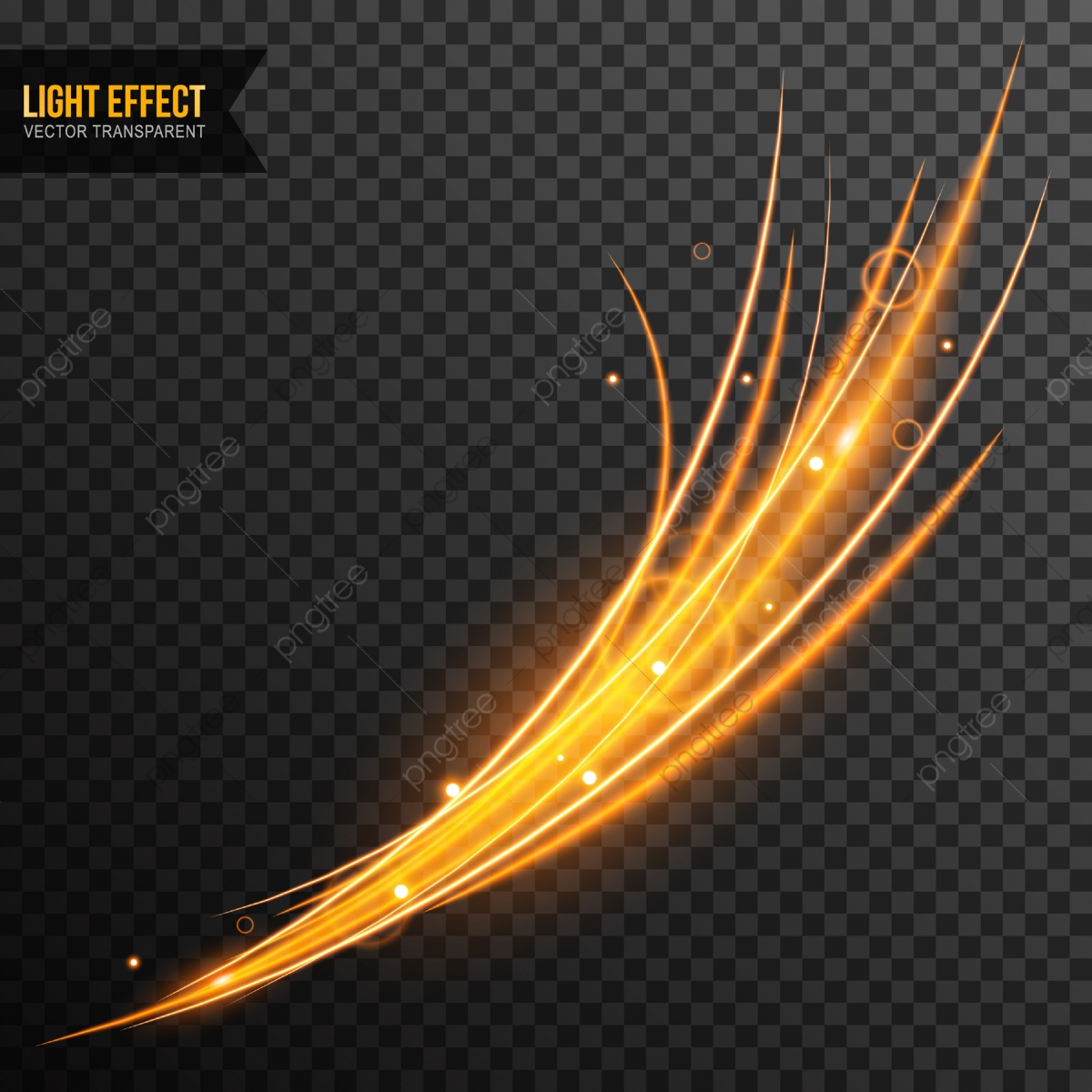 Light Effect Vector Transparent With Line Swirl And Golden.