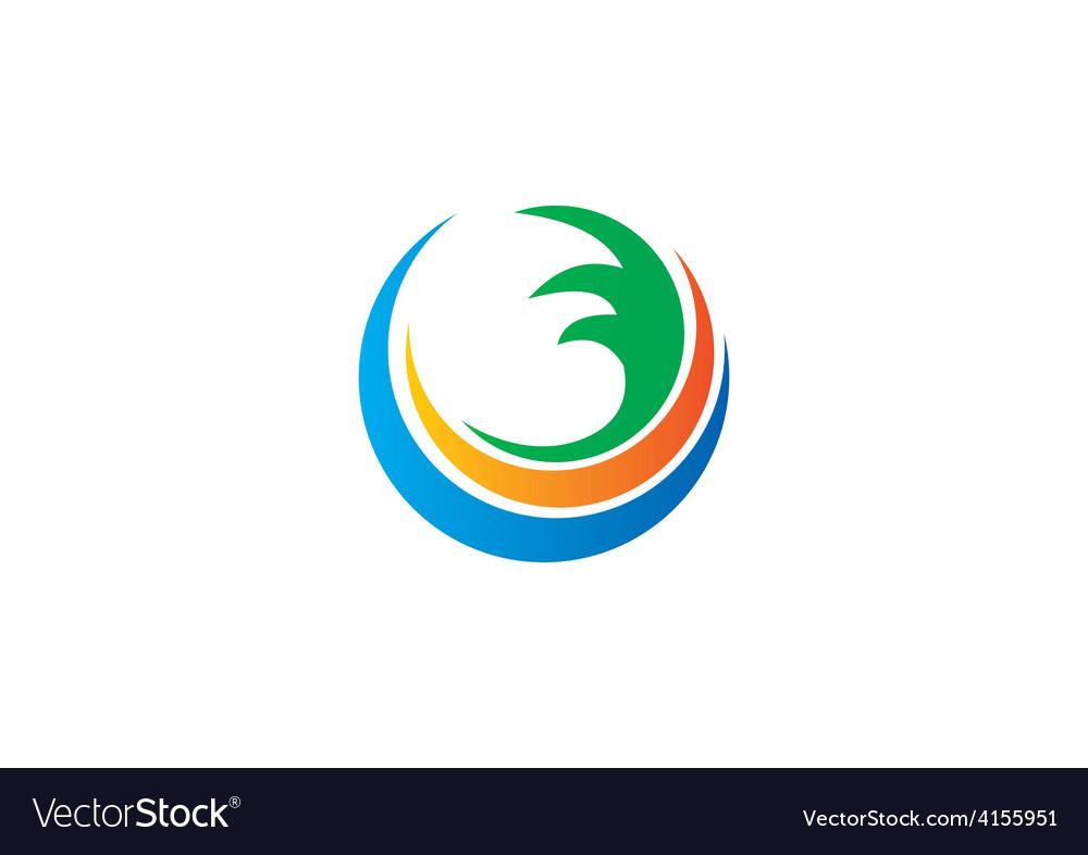 Water earth abstract circle swirl logo.