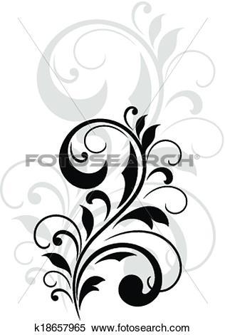 Clipart of Pretty swirling foliate design element k18657965.