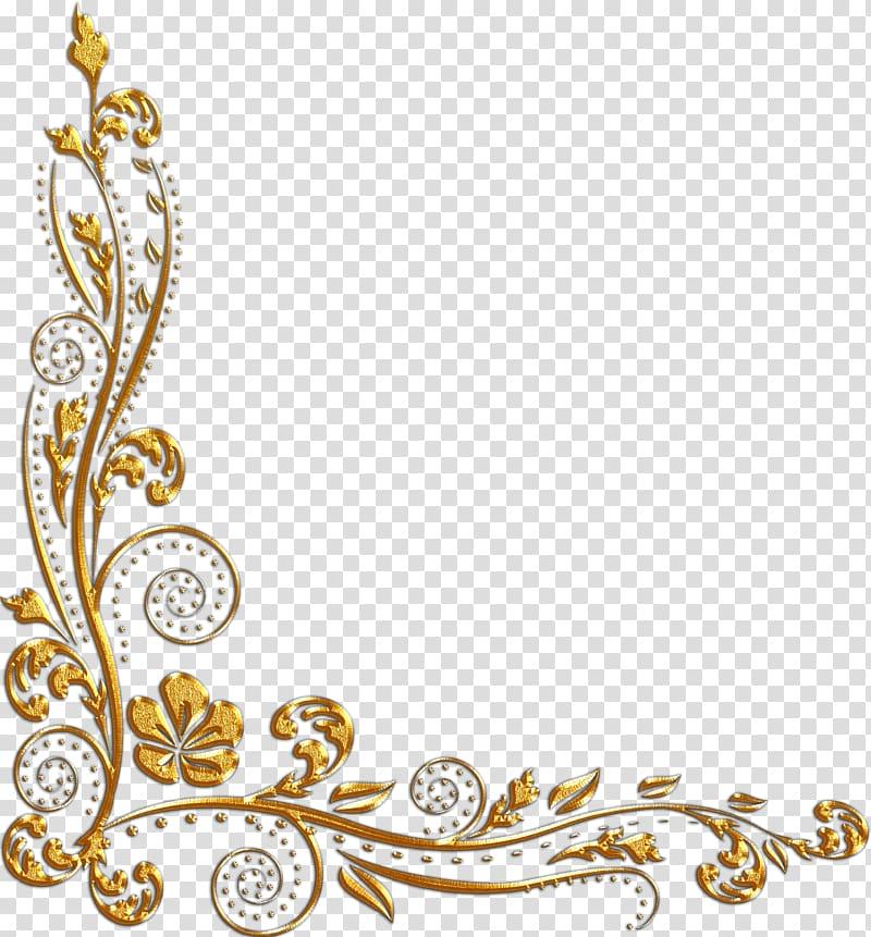 Gold floral swirl borderline illustration, Our Glad Frames.