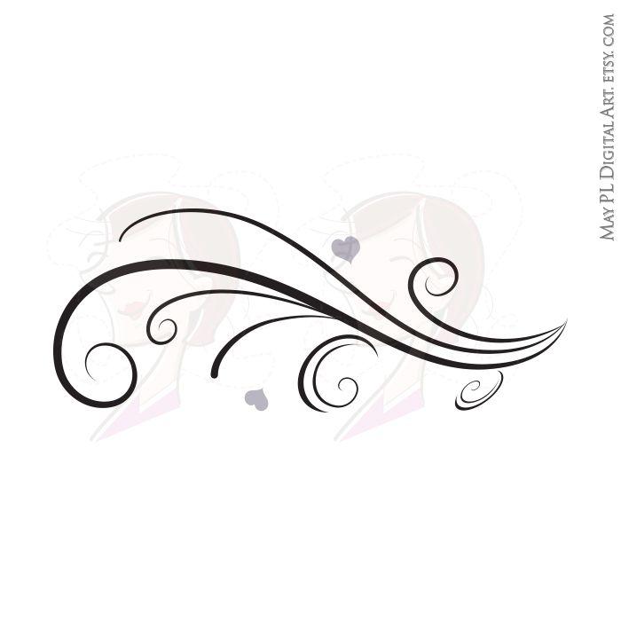 Vintage Horizontal Curved Flourish Curls Beautiful Borders.