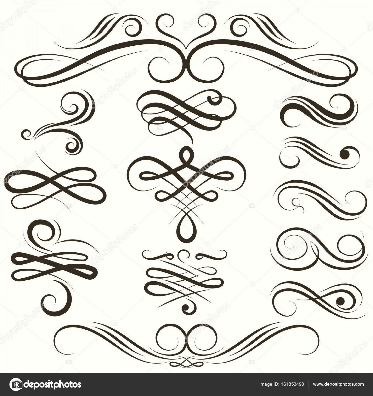 Stock Illustration Vintage Flourish Swirls Collection Vector.