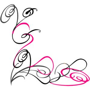 Decorative Swirl Pink Grey clip art.