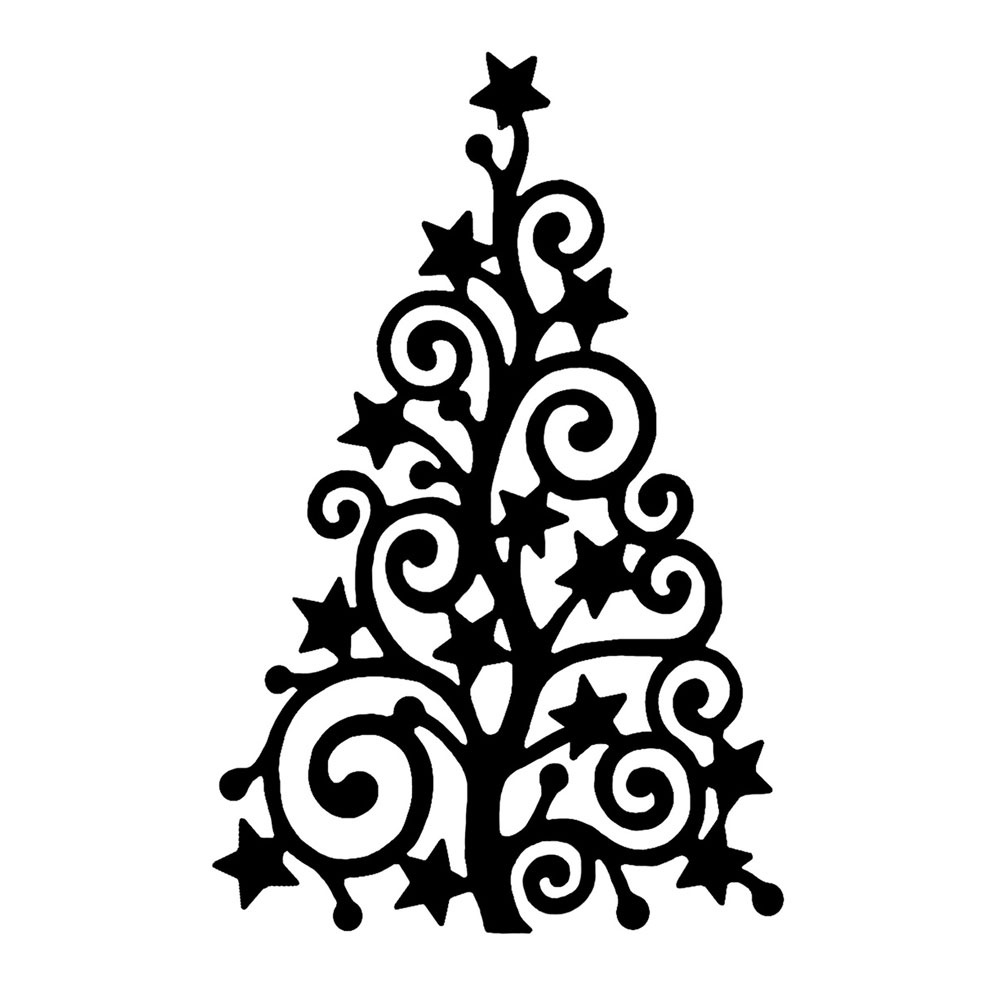 Swirly christmas tree clip art.