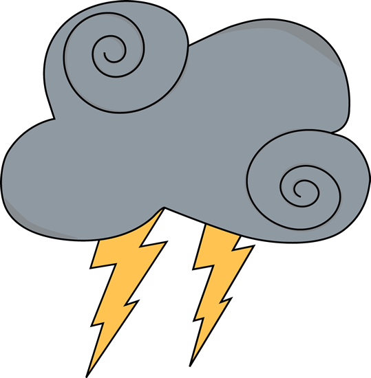 Swirly Gray Cloud with Lightning Clip Art.
