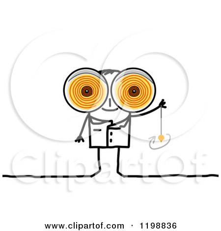 Clipart of a Stick Therapist with Big Swirly Hynotic Eyes and a.