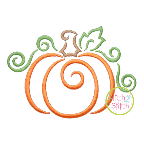 All Occasion Swirly Pumpkin Embroidery.
