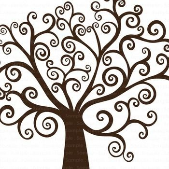 Tree Clip Art, Whimsical Swirl Tree ClipArt, Large Hand.