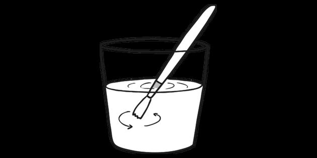 Swish Paintbrush Water Black and White Illustration.
