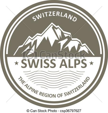 Vector Illustration of Swiss Alps emblem.
