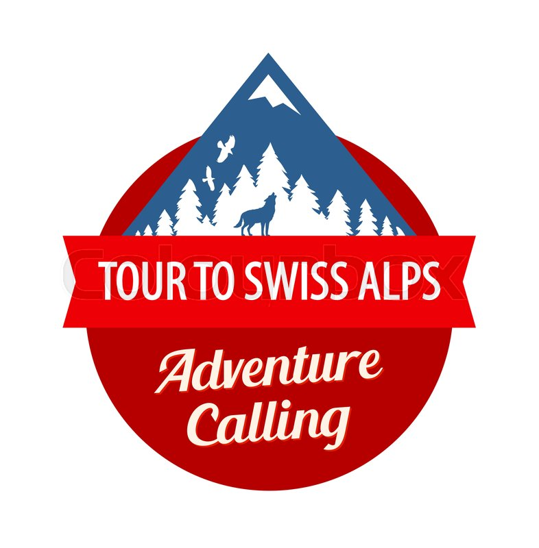 Tour to Swiss Alps, Vector Badge with.
