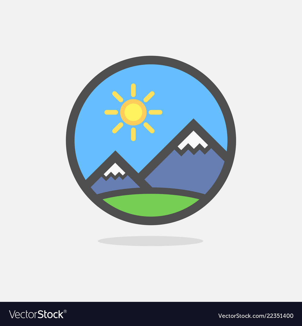 Mountains of swiss alps on colorful round emblem.