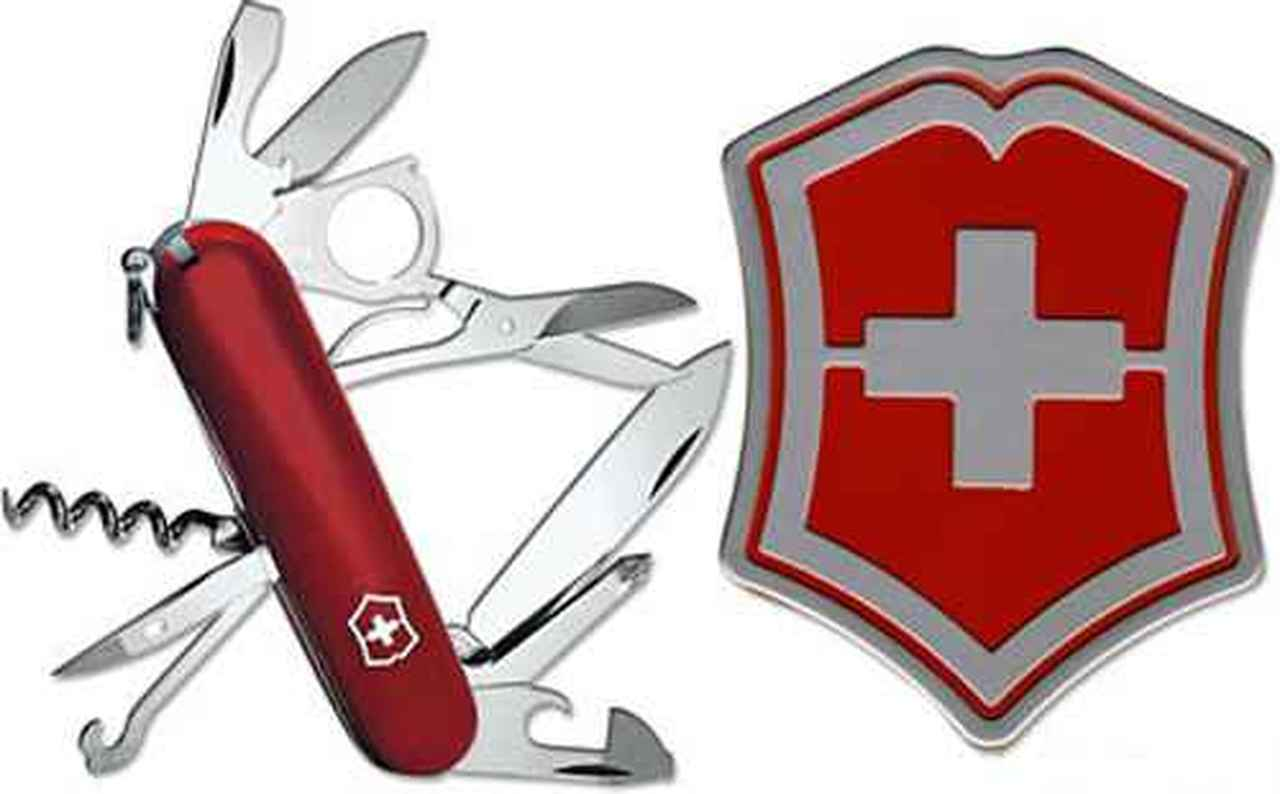 Victorinox Swiss Army Explorer Knife, Red with Emblem Gift Box.