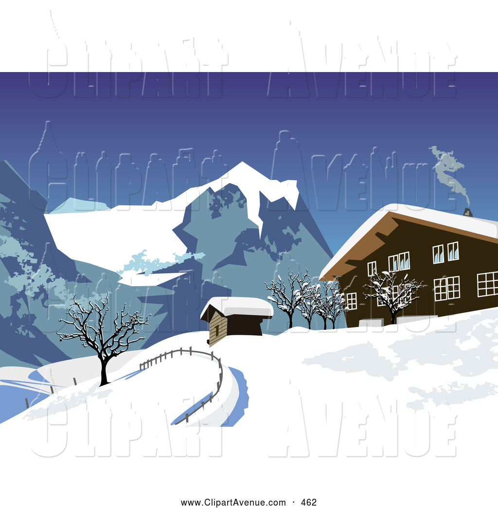 Avenue Clipart of a Twisting Smoke Rising from a Chalet in.