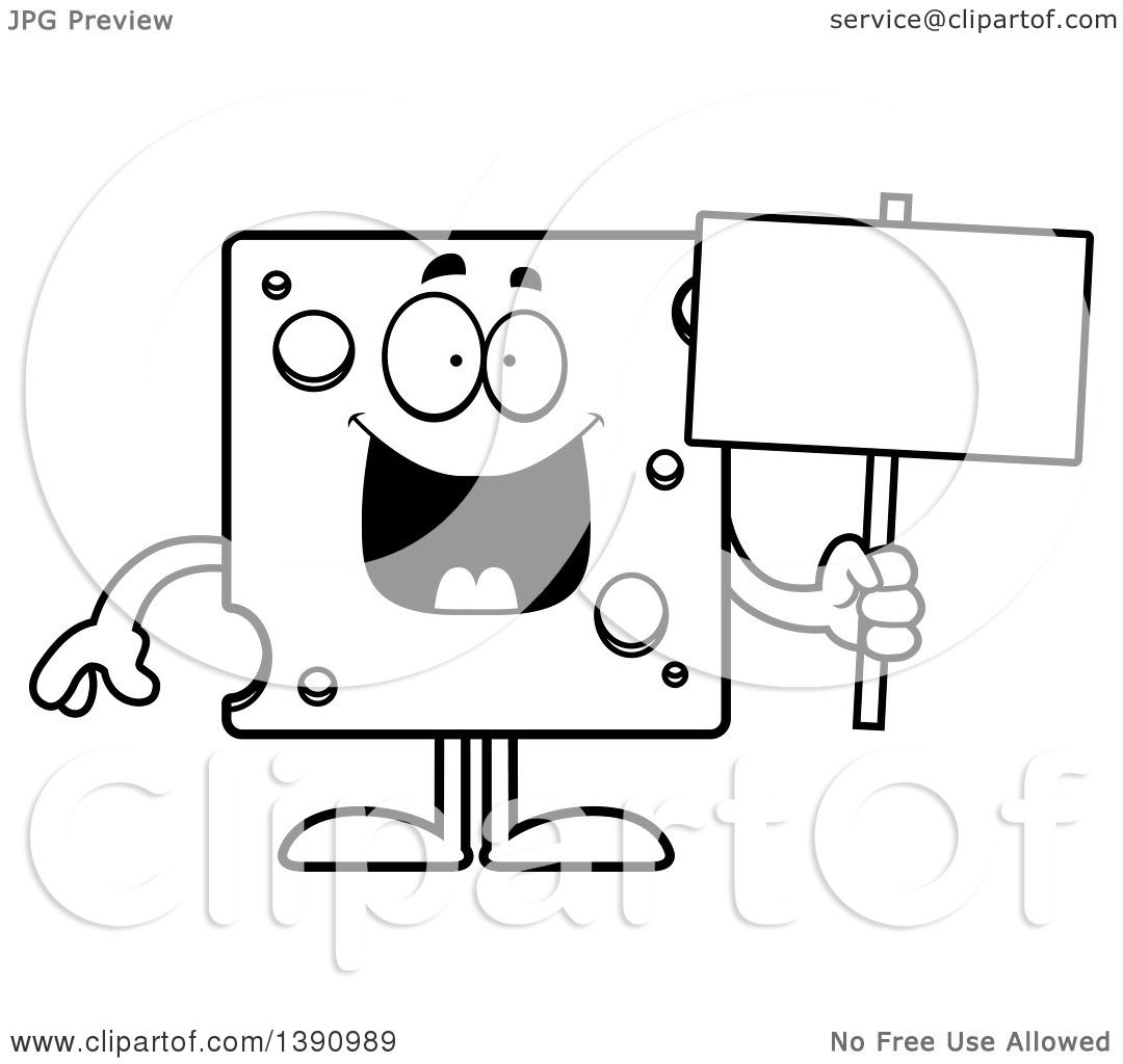 Clipart of a Cartoon Black and White Lineart Happy Swiss Cheese.