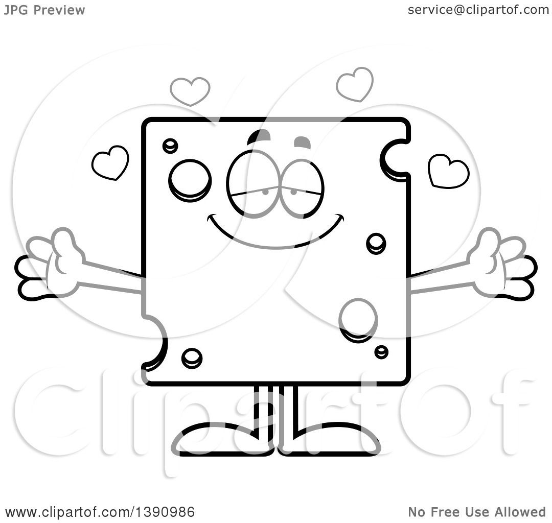 Clipart of a Cartoon Black and White Lineart Loving Swiss Cheese.