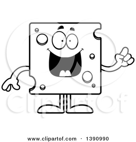 Cartoon Clipart Of A Black And White Swiss Cheese Wedge Character.