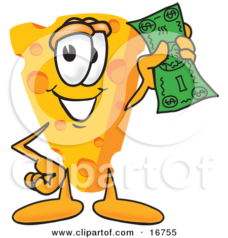 Clipart Picture of a Wedge of Orange Swiss Cheese Mascot Cartoon.