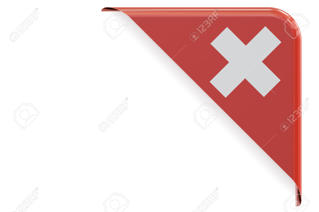 Swiss Corner, Button. 3D Rendering Isolated On White Background.