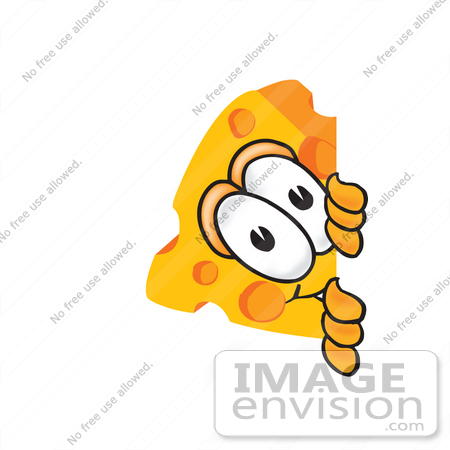 Clip Art Graphic of a Swiss Cheese Wedge Mascot Character Sneakily.
