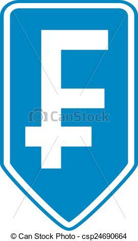Clip Art Vector of Swiss franc symbol button..