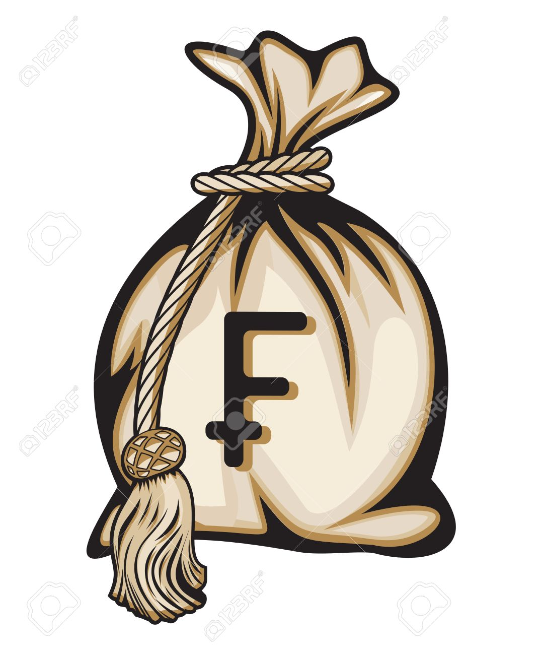Money Bag With Swiss Franc Sign Illustration Royalty Free Cliparts.