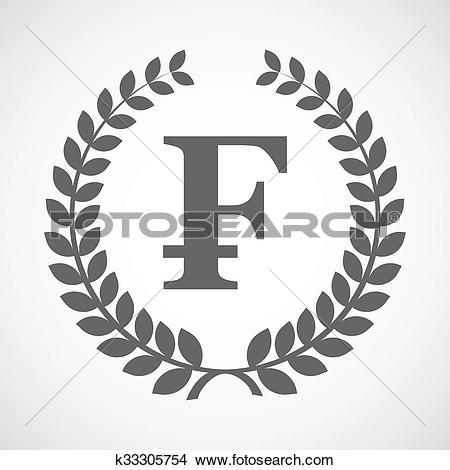 Clipart of Isolated laurel wreath icon with a swiss franc sign.
