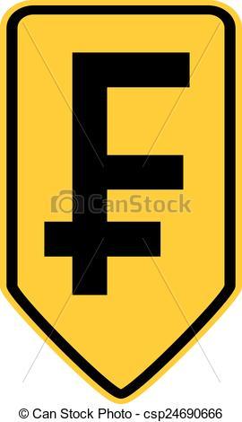 Clip Art Vector of Swiss franc symbol button.