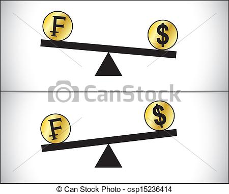 Vector Clip Art of Forex Trading Francs and US Dollar.