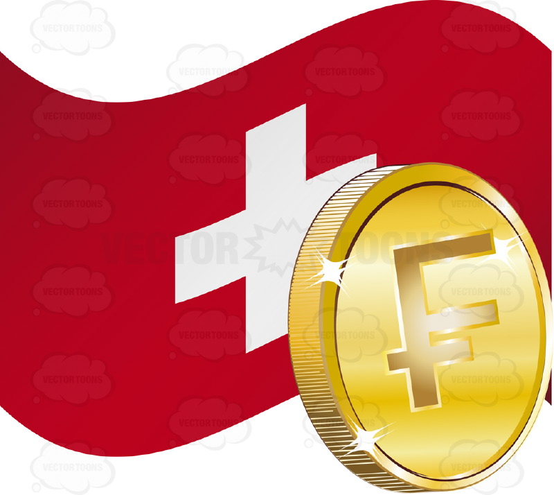Flag Of Switzerland With Swiss Franc Sign On Gold Coin Cartoon Clipart.