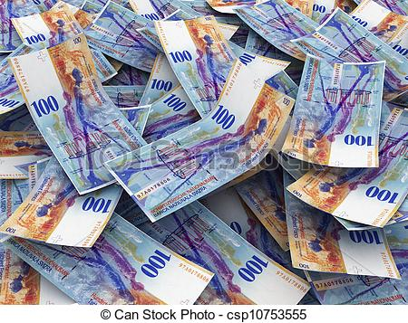 Stock Images of Swiss Currency Bank Notes (Swiss Francs). Pile of.